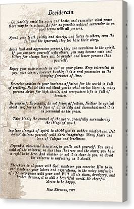 Prose Poem Desiderata By Max Ehrmann  Canvas Print by Olga Hamilton