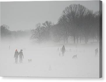 Prospect Park Brooklyn In Winter Canvas Print by Julie VanDore