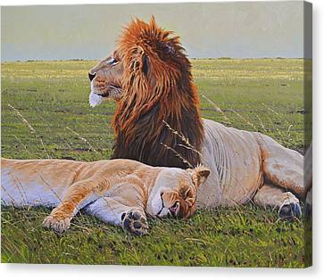 Protecting The Queen Canvas Print by Aaron Blaise