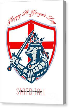 Proud To Be English Happy St George Day Shield Card Canvas Print by Aloysius Patrimonio
