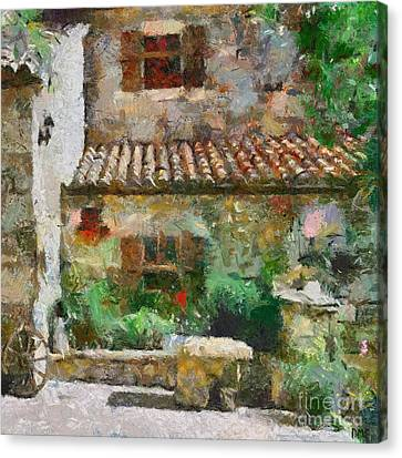 Provencal Farm Courtyard  Canvas Print by Dragica  Micki Fortuna