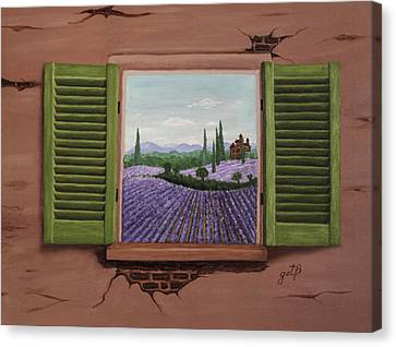 Canvas Print featuring the painting Provence Lavander Fields Original Acrylic by Georgeta Blanaru