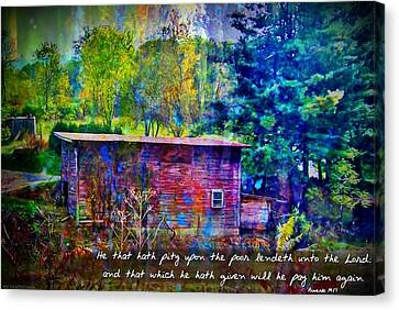 Proverbs 19 17 Canvas Print by Michelle Greene Wheeler