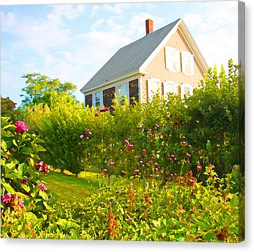 Provincetown Cottage With Green Brown And Pink Canvas Print by Brooke T Ryan