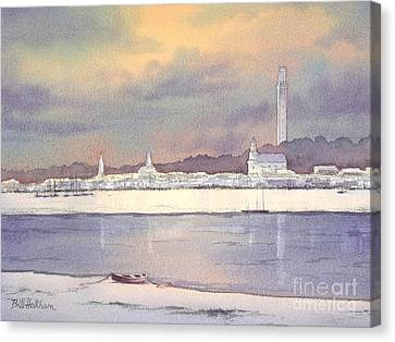 Canvas Print featuring the painting Provincetown Evening Lights by Bill Holkham