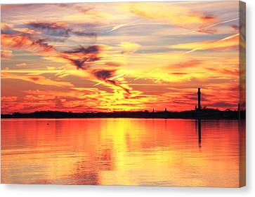 Canvas Print featuring the photograph Provincetown Harbor Sunset by Roupen  Baker