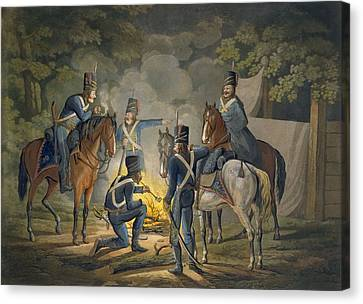 Prussian Hussars On A Night Picket Canvas Print by Conrad Gessner