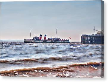Ps Waverley Leaves Penarth Pier 2 Canvas Print by Steve Purnell