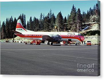 Psa Lockheed L188c Electra   N171p Cindy Lake Tahoe Airport Canvas Print by Wernher Krutein