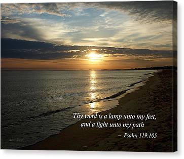 Bible Verse Canvas Print - Psalm 119-105 Your Word Is A Lamp by Susan Savad