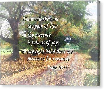 Psalm 16 11 Thou Wilt Shew Me The Path Of Life Canvas Print by Susan Savad