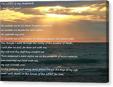 Psalm 23 Beach Sunset Canvas Print by Dan Sproul
