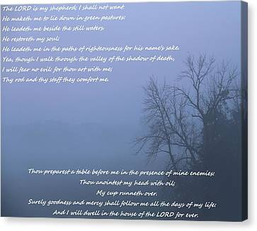 Psalm 23 Foggy Morning Canvas Print by Dan Sproul