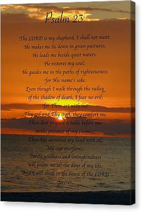 Christian Poetry Canvas Print - Psalm 23 by Mark Behrens