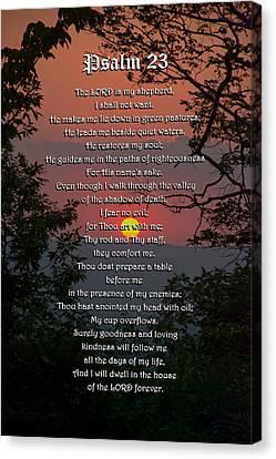 Religious Canvas Print - Psalm 23 Prayer Over Sunset Landscape by Christina Rollo