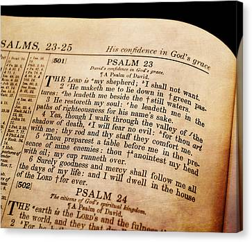Psalm 23 - The Lord Is My Shepherd Canvas Print by Deena Stoddard