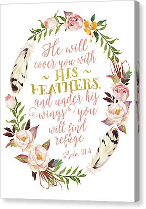 Psalm 91-4 Pink And Gold Wreath Canvas Print by Tara Moss