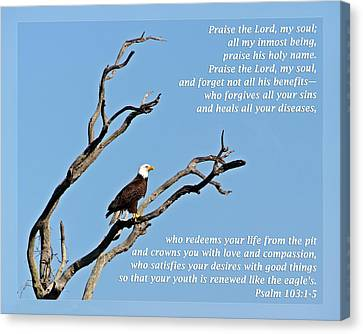 Psalm 103 1-5 Canvas Print by Dawn Currie
