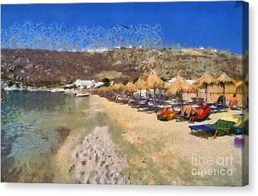 Swim Canvas Print - Psarou Beach by George Atsametakis
