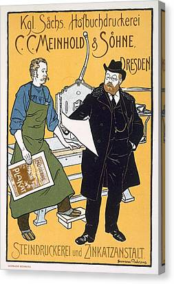 Poster Advertising C C Meinhold And Sons Canvas Print by Hermann Behrens