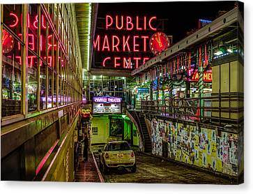 Psychadelic Midnight Colors At Pike Place Market Canvas Print by Brian Xavier