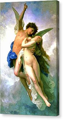 Psyche And Cupid Canvas Print by William Bouguereau