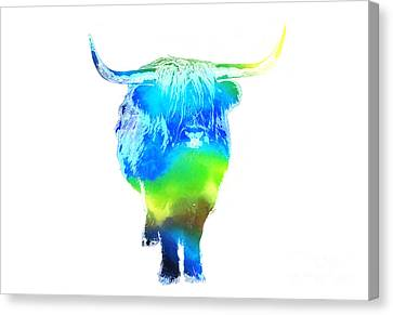 Psychedelic Bovine #2 Canvas Print by Pixel  Chimp