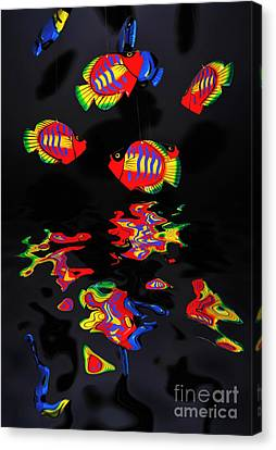 Psychedelic Flying Fish With Psychedelic Reflections Canvas Print