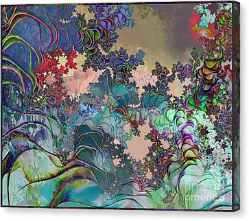 Canvas Print featuring the digital art Psychedelic Garden by Ursula Freer