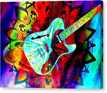 Psychedelic Guitar Canvas Print by Ally  White