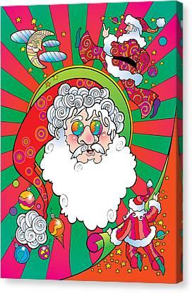 Psychedelic Santa Face Canvas Print