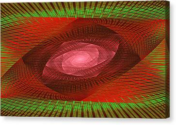 Psychedelic Spiral Vortex Green And Red Fractal Flame Canvas Print by Keith Webber Jr