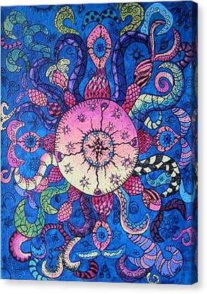 Psychedelic Squid Canvas Print by Megan Walsh