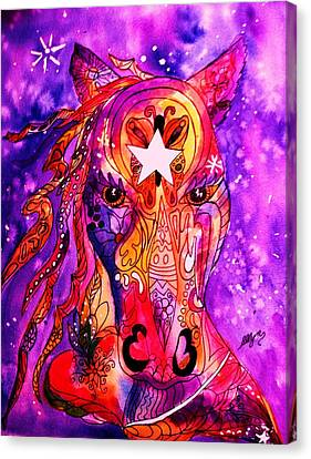Psychedelic Tattooed Horse's Head Canvas Print by Ellen Levinson