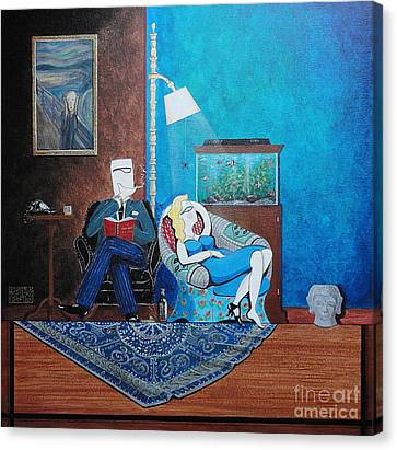 Psychiatrist Sitting In Chair Studying Spider's Reaction Canvas Print by John Lyes