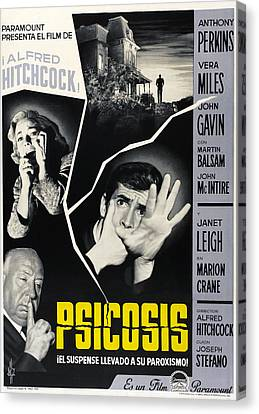 Films By Alfred Hitchcock Canvas Print - Psycho Aka Psicosis, Left From Top Vera by Everett
