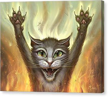 Wall Hanging Canvas Print - Psycho Cat by Jeff Haynie