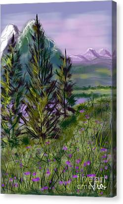 ptg.  Mountain Meadow Pond Canvas Print by Judy Via-Wolff
