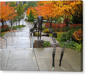 Public Art And Fall Color At The Arena Canvas Print