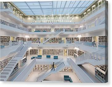 Public Library Stuttgart - Modern Architecture And Lots Of Books Canvas Print by Matthias Hauser