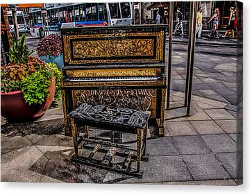 Canvas Print featuring the photograph Public Piano by Ray Congrove