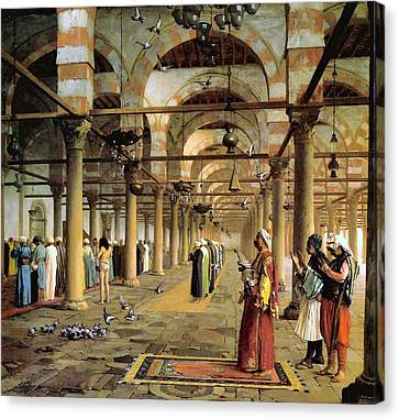 Public Prayer In The Mosque  Canvas Print by Jean Leon Gerome