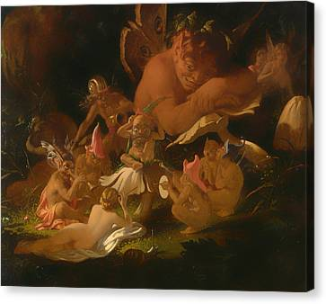Puck And Fairies From A Midsummer Night's Dream Canvas Print by Mountain Dreams