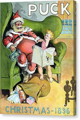 Puck Christmas 1896 Canvas Print