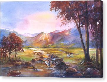 Canvas Print featuring the painting Puddle Ducks by Patricia Schneider Mitchell