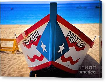 Puerto Rican Flag Painted Fishing Boat Canvas Print
