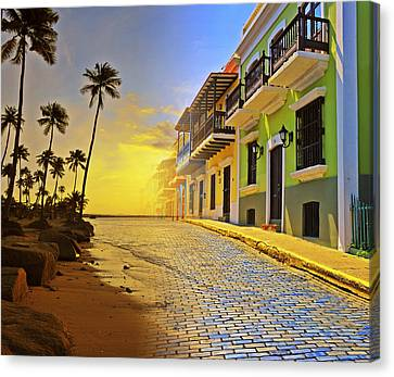 Tropical Sunset Canvas Print - Puerto Rico Collage 2 by Stephen Anderson