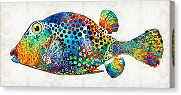 Tropical Fish Canvas Print - Puffer Fish Art - Puff Love - By Sharon Cummings by Sharon Cummings