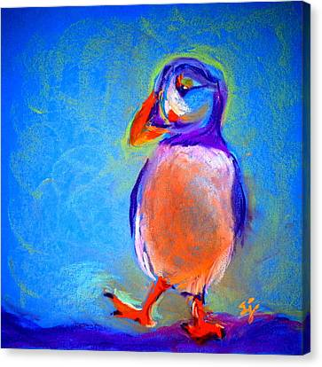 Funky Puffin Dancing Canvas Print