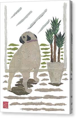 Pug Art Hand-torn Newspaper Collage Art Canvas Print by Keiko Suzuki Bless Hue
